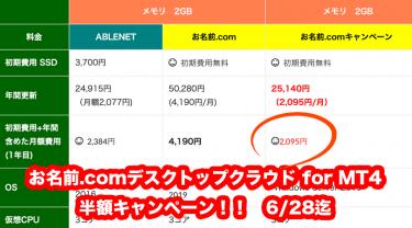 半額キャンペーン!お名前.comデスクトップクラウド for MT4が2GB以上で半額に!