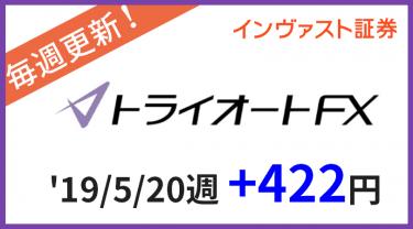 2019/5/20週のトライオートFX運用実績は+422円!連勝!